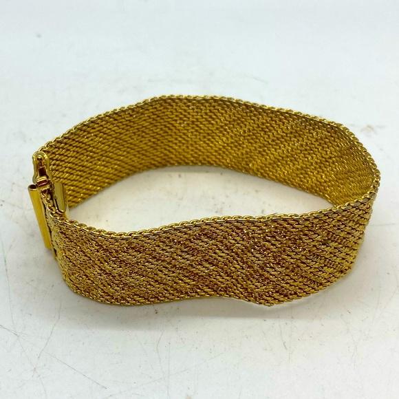 Vintage Monet Woven Mesh Golden Metal Bracelet